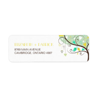 Green and Yellow Lovebirds Wedding Address Label
