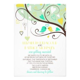 Green and Yellow Lovebirds Wedding Invitation