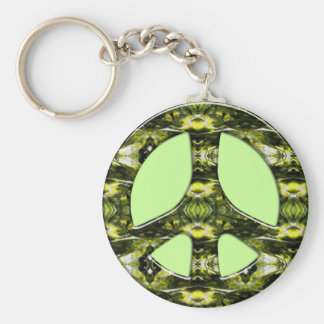 GREEN AND YELLOW MARBLE PEACE SIGN BASIC ROUND BUTTON KEYCHAIN