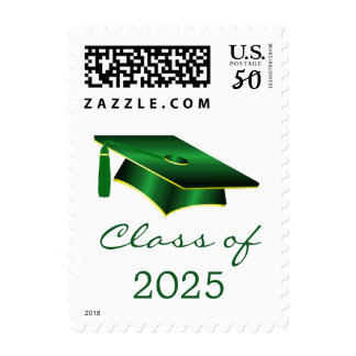 Green and yellow Mortar cap Graduation Postage