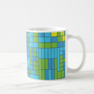 Green and Yellow Mosaic Tile Coffee Mugs