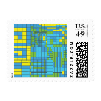 Green and Yellow Mosaic Tile Stamp