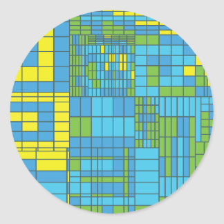 Green and Yellow Mosaic Tile Round Sticker