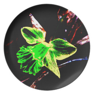 Green and Yellow Neon Daffodil Melamine Plate