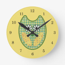 Green and Yellow Owl Clock