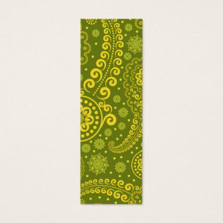 Green and yellow paisley.png mini business card