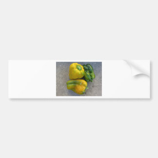 Green and yellow peppers bumper sticker