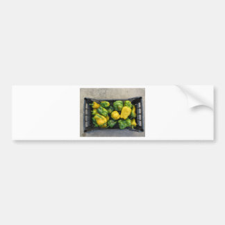 Green and yellow peppers in box bumper sticker