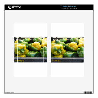 Green and yellow peppers in box kindle fire skins