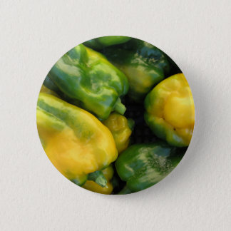 Green and yellow peppers pinback button