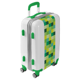 Green and Yellow Pixelated Pattern Luggage