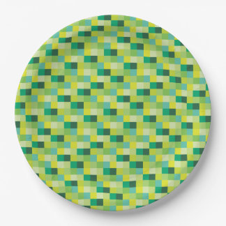 Green and Yellow Pixelated Pattern Paper Plate