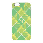 Green And Yellow Plaid Geometric Pattern Clear iPhone 6/6S Case