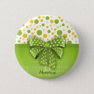 Green and Yellow Polka Dots, Spring Green Ribbon Button