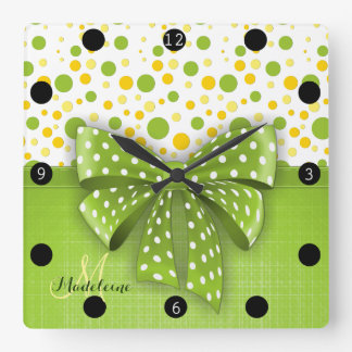 Green and Yellow Polka Dots, Spring Green Ribbon Square Wall Clock