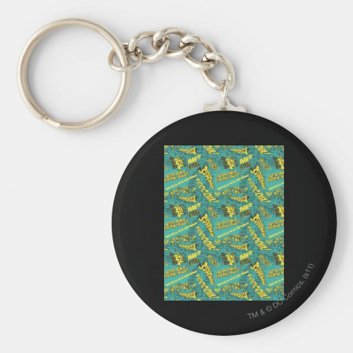 Green and Yellow Pow! Basic Round Button Keychain