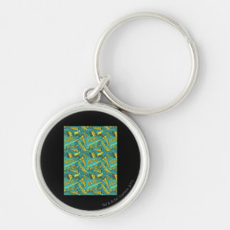 Green and Yellow Pow! Silver-Colored Round Keychain