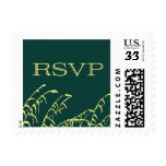 Green and Yellow RSVP rustic stamp