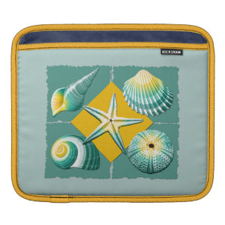 Green and Yellow Sea Shells Sleeve For iPads