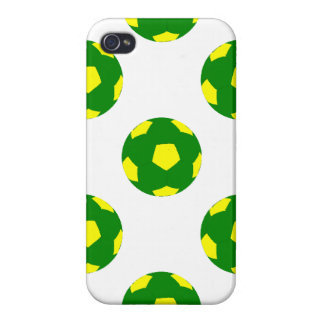 Green and Yellow Soccer Ball Pattern Cover For iPhone 4