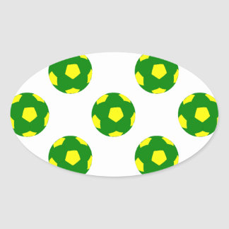 Green and Yellow Soccer Ball Pattern Oval Sticker
