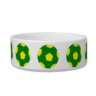 Green and Yellow Soccer Ball Pattern Pet Water Bowls