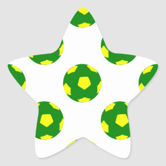 Green and Yellow Soccer Ball Pattern Star Sticker