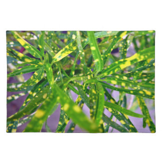 Green and Yellow speckled leaves Place Mats