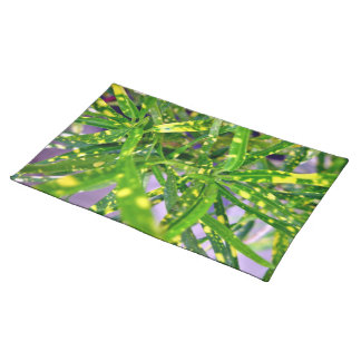 Green and Yellow speckled leaves Place Mat
