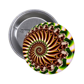Green and Yellow Spiral Shell Fractal Pin