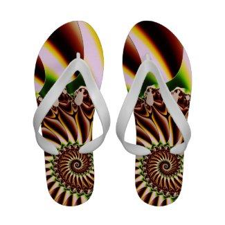 Green and Yellow Spiral Shell Fractal Flip-Flops