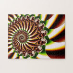 Green and Yellow Spiral Shell Fractal Jigsaw Puzzles