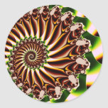Green and Yellow Spiral Shell Fractal Classic Round Sticker