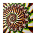 Green and Yellow Spiral Shell Fractal Tile