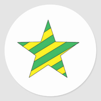 green and yellow star classic round sticker