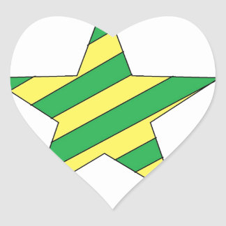 green and yellow star heart sticker