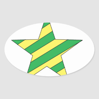 green and yellow star oval sticker