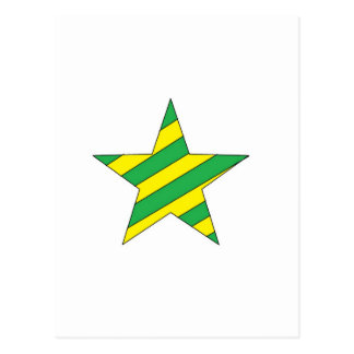 green and yellow star postcard