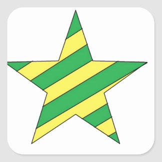 green and yellow star square sticker