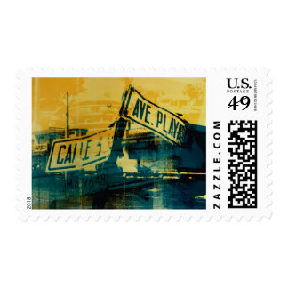 Green and Yellow Street Sign Postage