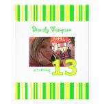 Green and Yellow Stripe 13th Birthday Invitation