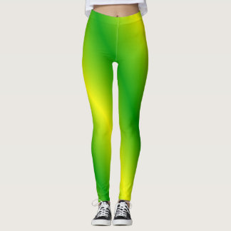 Green and Yellow Striped Leggings
