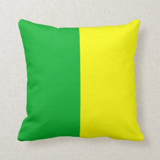 Green and Yellow Striped Throw Pillow