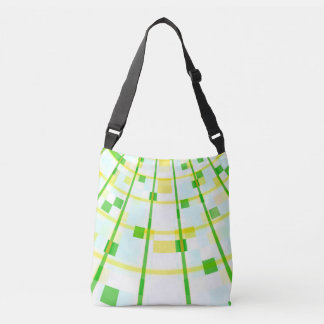 green and yellow stripes abstract design fractal crossbody bag