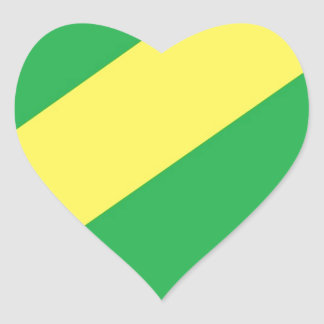 Green and Yellow Stripes Heart Sticker