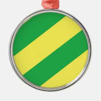 Green and Yellow Stripes Metal Ornament