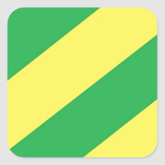 Green and Yellow Stripes Square Sticker