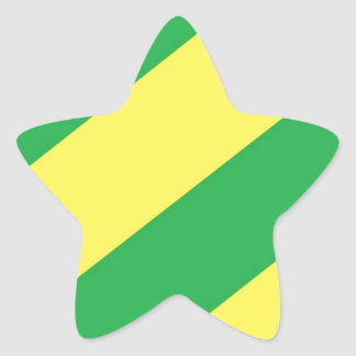 Green and Yellow Stripes Star Sticker