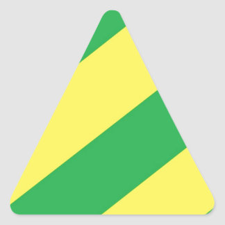 Green and Yellow Stripes Triangle Sticker