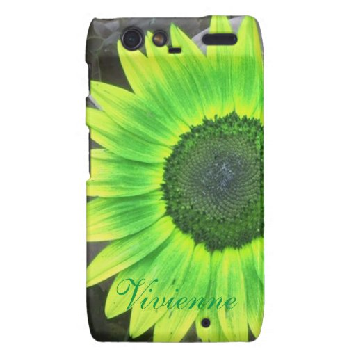Green and Yellow Sunflower Droid RAZR Case